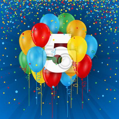 Joyeux 5eme Anniversaire Anniversaire Carte Avec Des Ballons Et Des Banderoles 400 103370546